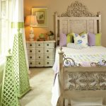 Ornate Bedroom Furniture Standing Lights Night Lamp Bed Carpet Cabinet Drawers Wall Painting Pillows Traditional Design