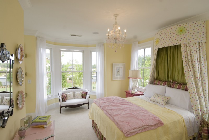 pale yellow walls idea pale yellow bed comforter sweet pink blanket glass windows with white semi transparent curtains white floors pink bedside tables