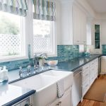 Pedestal Sink With Backsplash Drawers Cabinets Wooden Floor Windows Blinds Stove Faucets Traditional Style