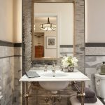 Pedestal Sink With Backsplash Sink Faucet Hanging Lamp Chair Mirror Transitional Style
