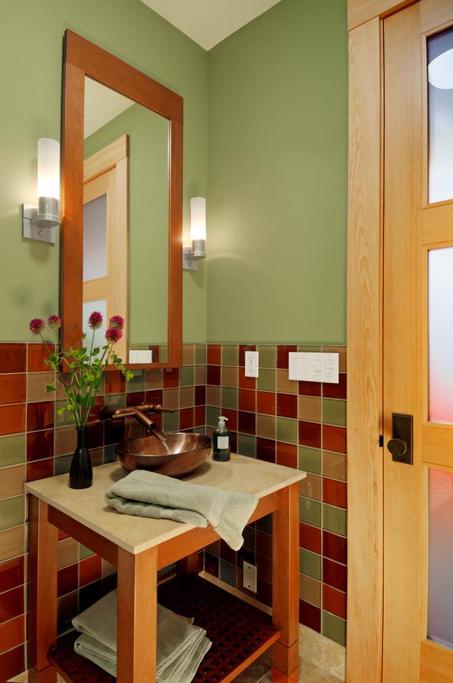 pedestal sink with backsplash table shelf vase hanging lamps checkered tiles door traditional design
