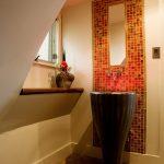 Pedestal Sink With Backsplash Tiles Carpet Window Faucets Mirror Contemporary Design