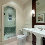 pedestal sink with backsplash wall decoration toilet built in cabinet lamp faucet traditional style
