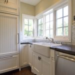 Pedestal Sink With Backsplash Wooden Floor Faucet Panel Cabinets Window Storage Ceiling Lamps Traditional Style