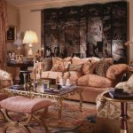 Pink Curtail Golden Glass Coffee Table Round Table Floral Patterned Sofa Table Lamps Black Decorative Wall