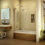 Pivoting Tub Shield Or Tub Screen Minimalist Bathroom Plant Decoration Mirrored Bathroom Table