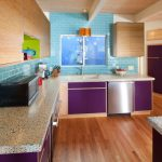 Popular Paint Colors For Kitchens Autumn Purple Tequila Lime Unique Marble Countertop Wood Cabinet Colorful Kitchen