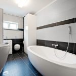 Porcelain Wall Walk In Shower Tub Combo Tile Two Coloured Tiles One Hole Lavatory Faucet Modern Bathroom