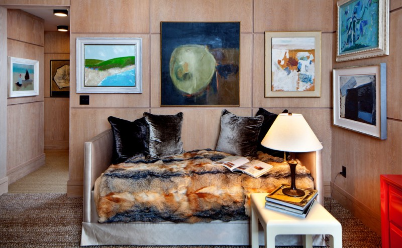 pottery barn daybed cover carpet paintings pillows coffee table lamp books contemporary style bedroom
