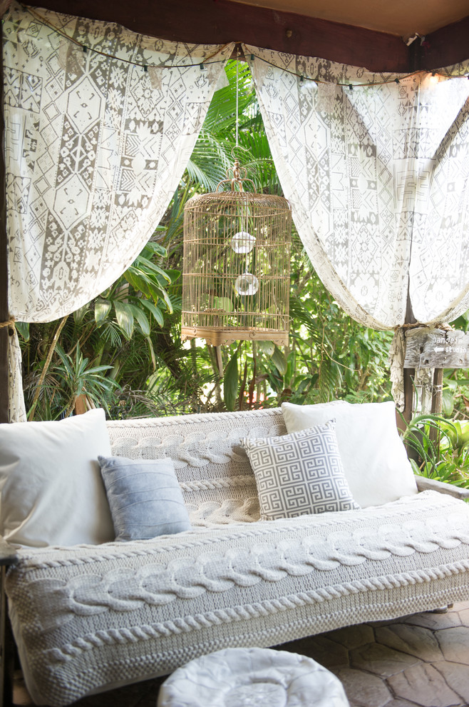 pottery barn daybed cover pillows curtains beach style patio outdoor area