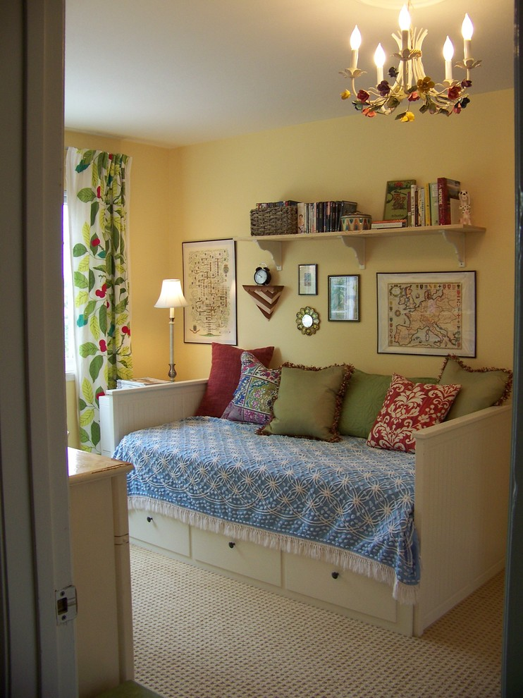 pottery barn daybed cover window curtain chandelier pillows shelf books wall decors lamp traditional bedroom