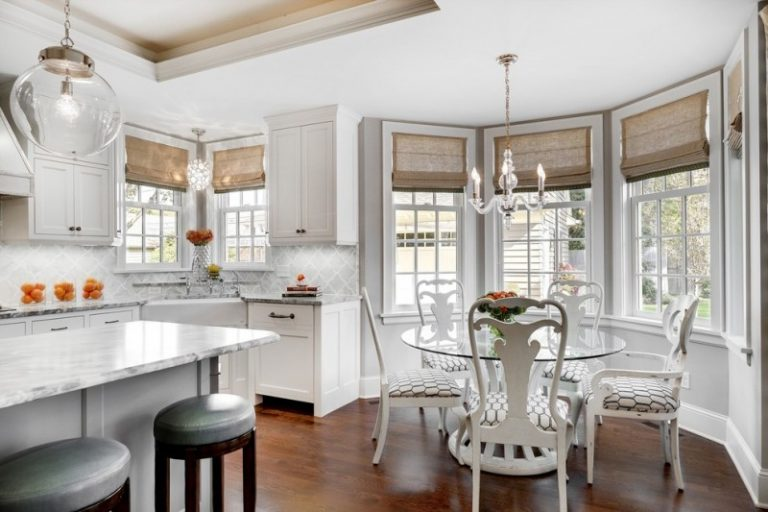 Round Table Breakfast Nooks White Marble Countertop Kitchen Cabinet Chandelier Lamp Raised Ceiling