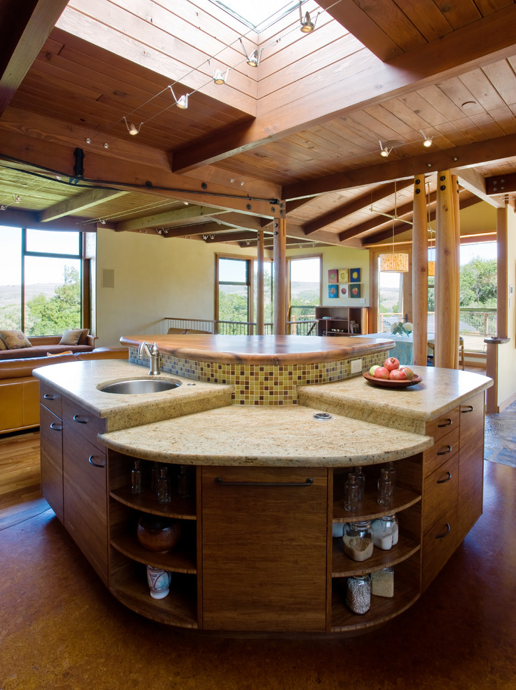 rustic kitchen island in curve shape and with storage