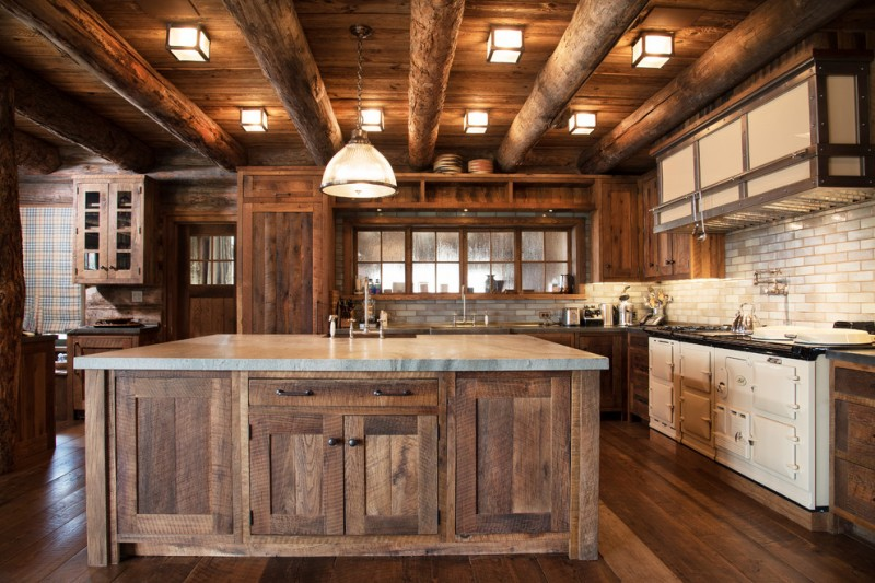 rustic kitchen remodel for log cabin house rustic kitchen island with storage addition L shaped countertop white kitchen cabinets subway tiles backsplash hardwood floors