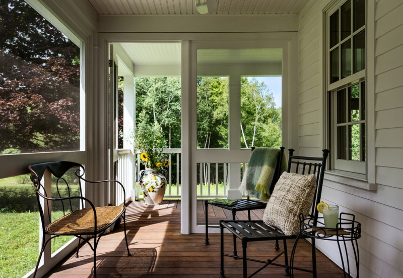 screen porch designs chairs round small table deck white ceiling walls double glass doors urn farmhouse design