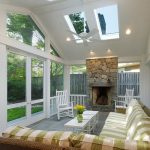 Screened In Patio Ideas Fireplace Ceiling Window Green And White Patio Couch White Wooden Armchairs White Table