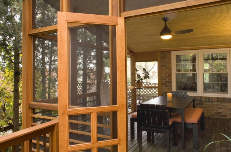 screened in patio ideas minka aire ceiling fan rectangular dining table mystique outdoor flameless candle dining chairs and benches