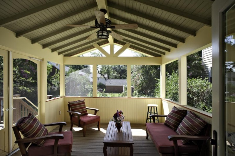 screened in patio ideas red patio armchairs wooden ceiling black ceiling fan wooden table patio stool