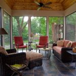 Screened In Patio Ideas Traditional Porch Rattan Couch Square Glass Table Mosaic Tile Ottoman Red Cushioned Armchairs