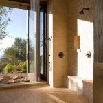 Shower Without Door But With Sliding Door To Outside, Mixed Mosaic Limestone And Terracota Flooring And Wall, Rain Shower Ceiling, Shower Gainst The Wall