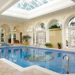 Skylight Enclosure For Mediterranean Interior Pool Large Interior Pool White Tiles Floors