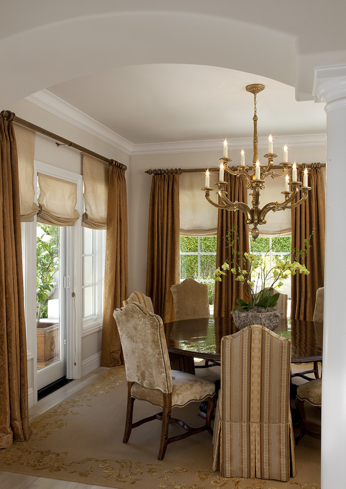 sliding glass door drapes classic dining room knotted rug unique chandelier brown gold drapery