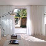 Sliding Glass Door Drapes Scandinavian Living Room Satin Steel Floor Lamp Ottoman White Couch