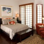 Small Asian Themed Bedding Asian Style Window Bedroom Beautiful Rug Reading Couch Black Wooden Bench And Cabinet