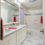Small Bathtubs With Shower Big Mirror Vanity Modern Lamps Towel Racks Wall Storage Transitional Bathroom