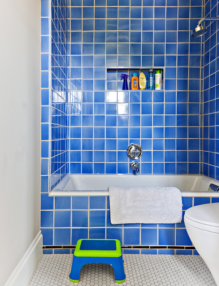 small bathtubs with shower blue walls toilet towel faucet wall storage traditional style room