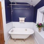 small bathtubs with shower flowers white and blue walls towel rack traditional bathroom