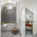 Small Bathtubs With Shower Stool Towel Rack Faucet Glass Window Beach Style Room