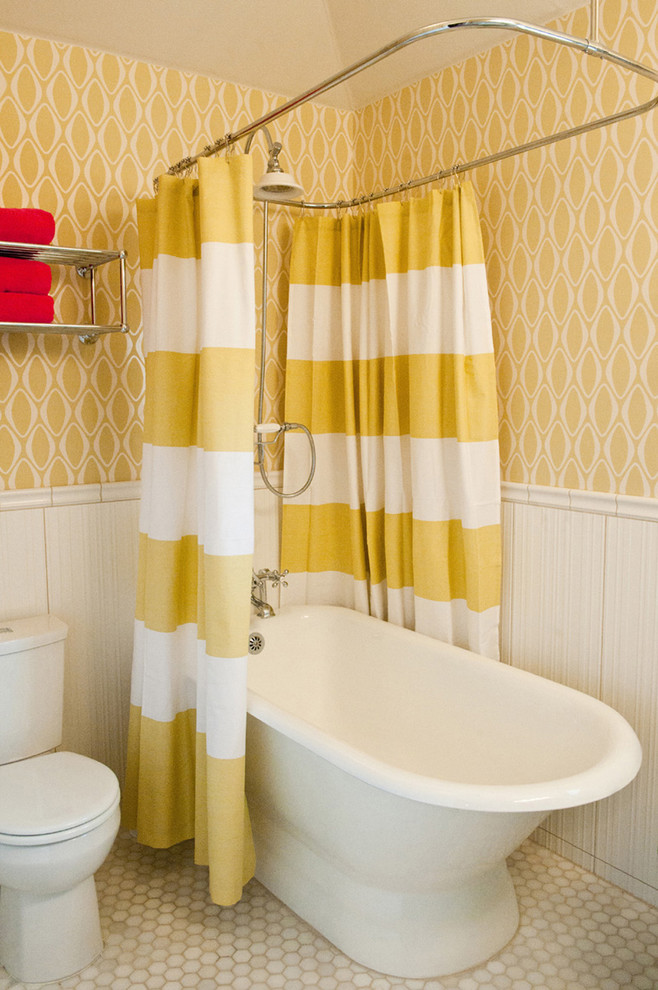 small bathtubs with shower toilet curtain shelves towels wall patterns contemporary bathroom
