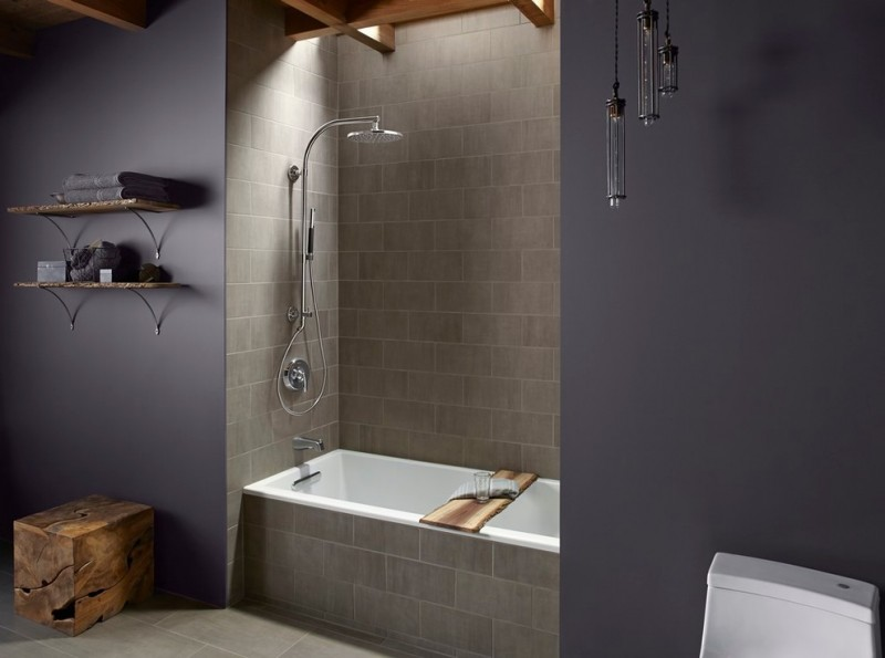 small bathtubs with shower wall shelves tiles faucet towels contemporary style room