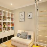 Spacious Basement For Kids Room Mid Size Couch In Pastel Monochromatic Decorative Pillows Simple Ladder With Rope White Shelving Unit For Animal Stuffs White Top Bench With Yellow Base