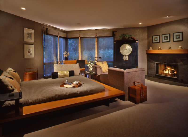 stone fireplace in the bedroom asian themed bedding cream soft rug asian cabinet window shades