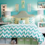 storage bed carpet dark floor small table lamps wall decor beach style kids room