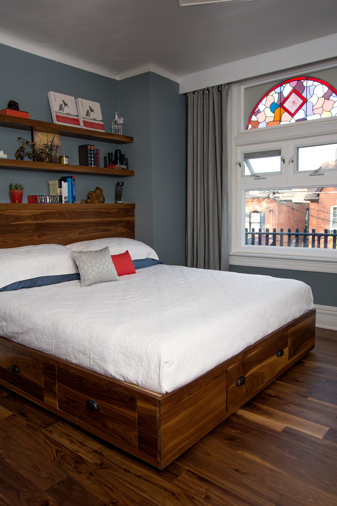 storage bed hardwood floor drawers pillows shelves books window curtain baseboard contemporary bedroom