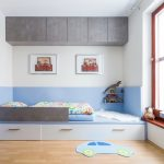 storage bed light coloured floor window curtain decorations pillows shelves wall decor contemporary kids room