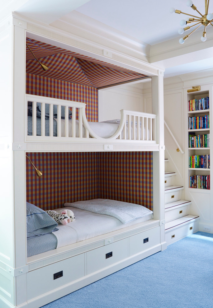 storage beds nyc bunkbed pillows drawers stairs bookshelves books chandelier traditional kids room new york