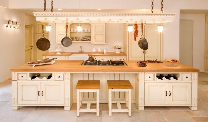 stove on brown woden top kitchen island