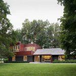 texas ranch house plans grey roof brick walls large windows glass doors light fixtures pavers garden modern design