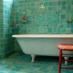 Traditional Bathroom Idea With Turquoise Tiles Walls Claw Foot Bathtub In White Shabby Red Wood Chair Turquoise Ceramic Floors