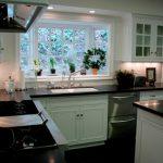 Traditional Kitchen Greenhouse Window Dishwasher Black Marble Countertop White Minimalist Kitchen Cabinet