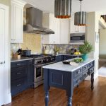 Traditional Kitchen Idea With Blue Bottom Cabinets White Upper Cabinets Stainless Steel Appliances White Top Kitchen Island With Blue Cabinets Wood Floors