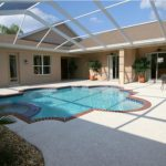 Traditional Tampa Bay Pool Design Ceiling Fence Pool Chair Set Custom Shaped Pool Brown Reed Frame