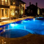 Travertine Pavers Pool Deck Fire Pit Hot Tub Fountains Stone Steps Double Glass Doors Lamps Decorative Plants Transitional Design
