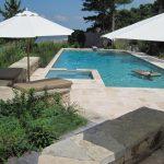Travertine Pavers Pool Deck Sunbrella Mats Wood Stool Stone Blocks Plants Decorations Contemporary Design