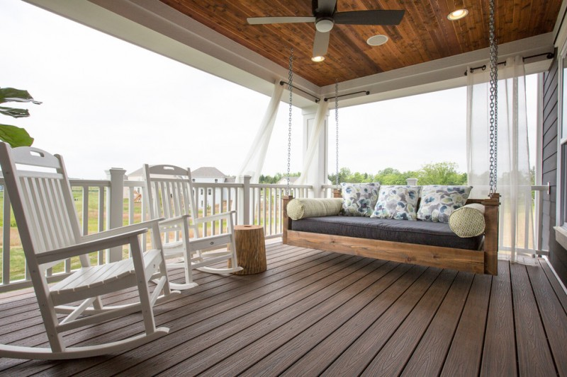 trex deck daybed bolster pillows swing arm transparent curtain eas cedar wrapped deck wooden floor