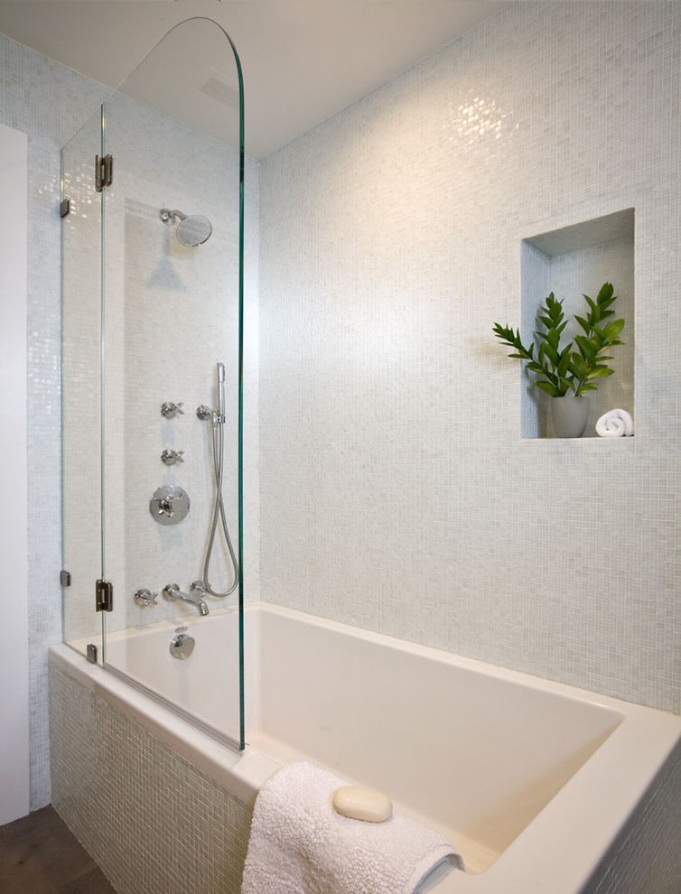 tub shower combo soaking tub with shower half door white square tile glass wall shower mosaic tile
